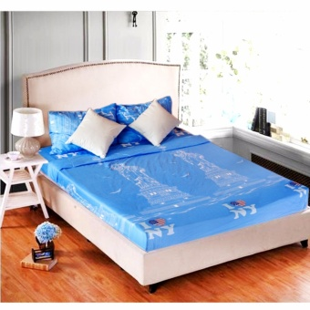 MODERN SPACE High Quality Fitted Bedsheet Single Size With FREE TwoPillow Cases I Love New York Printed Design Price Philippines