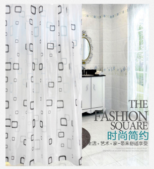 Modern waterproof European Small Grid bathroom shower curtain fabric shower curtain