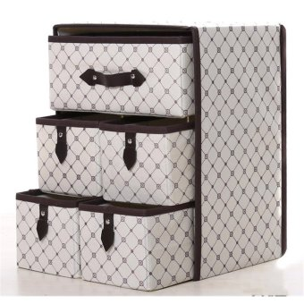 Moisture-proof Large Space Clothes Organizers Collapsible Storage Boxes For Home Clothes Foldable Closet 5 Drawer - intl
