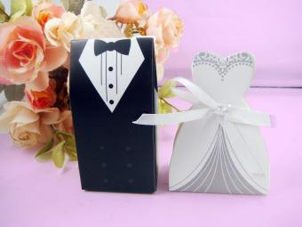 moob 150pcs Bride And Groom Wedding Candy Favour Formal Dress TuxedoDress Candy Gift Boxes