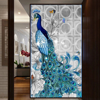 Moonar 32*45cm 5D Diamond Embroidery Painting Diy Peacock Mosaic Stitch Fine Craft Wall Decor (Head to Right)