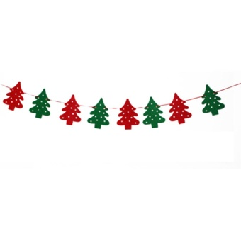 Moonar Christmas Bunting Banner String Party Xmas Wall Tree Hanging Decoration Ornament (Christmas tree,3#) - intl