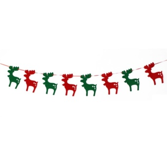 Moonar Christmas Bunting Banner String Party Xmas Wall Tree Hanging Decoration Ornament (Elk,1#) - intl