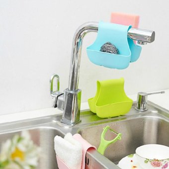 Moonar Double sink saddle style kitchen organizer storage sponge holder rack tool - intl