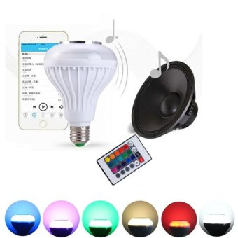 Moonar E27 LED RGB Bluetooth Speaker Bulb Wireless 12W Power Music Playing Light Lamp - intl