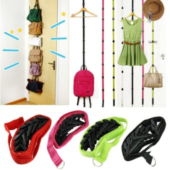 Moonar Home Living Organizer Bag Clothes Rack Holder Space Saving Strap Hanger 8 hooks - intl