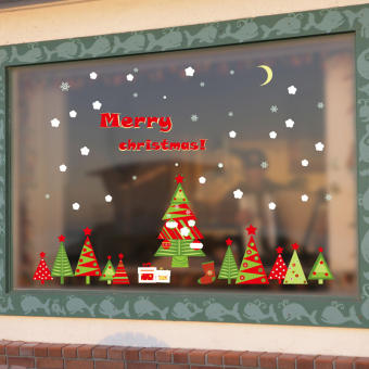 Multi-color Christmas decorative window stickers affixed to glass adhesive paper