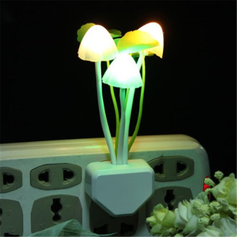 Multi-color Mushroom LED Night Light Plug-in Wall Lamp Bedroom Decor