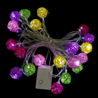 Multi Colour Rattan Ball LED Fairy Lights 20Light Wicker Cane for Christmas