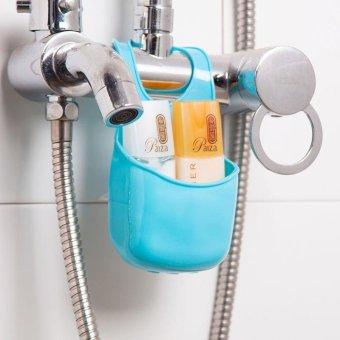 Multi-purpose Storage Shelf Sink Strainer Kitchen Sink AccessoriesBathroom Hanging Strainer Organizer Storage Sponge Holder BagTool(Blue) - Intl - 5