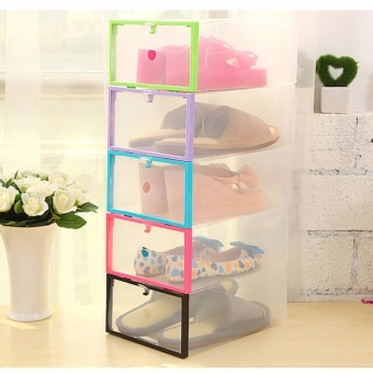 Multi-use Foldable Plastic Transparent Drawer Case Shoe Storage Organizer Stackable Box Set Of 5