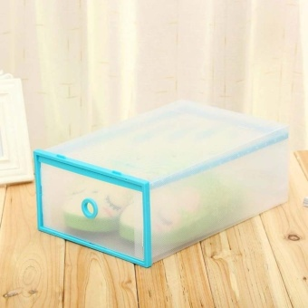 Multi-use Foldable Plastic Transparent Drawer Case Shoe StorageOrganizer Stackable Box (Blue)