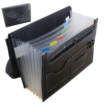 Multifunction Expandable Portable Accordion A4 File Folder Document Wallet Briefcase PU Leather Business File Organizer Bag 7 Pockets with Pen Holder and Card Slot - intl