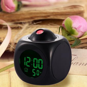 Multifunction Vibe LCD Talking Projection Alarm Clock Time &Temp Display (Intl) - 4