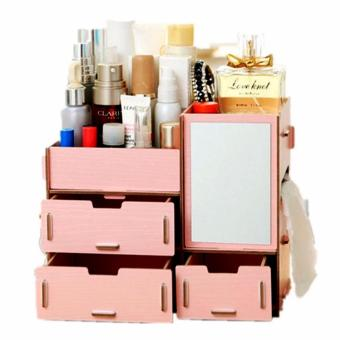 Multifunction Wooden Drawer Style Makeup Cosmetics Jewelry StorageBox Case Rack Organizer (Blush Pink)