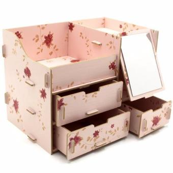 Multifunction Wooden Drawer Style Makeup Cosmetics Jewelry StorageBox Case Rack Organizer (Light Pink)