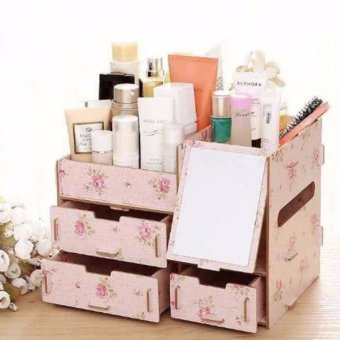 Multifunction Wooden Drawer Style Makeup Cosmetics Jewelry StorageBox Case Rack Organizer Light Pink (Floral Design)