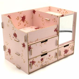 Multifunction Wooden Drawer Style Makeup Cosmetics Jewelry StorageBox Case Rack Organizer (Light Pink) with Foldable Woven ClothingStorage Box (Dotted Dark Blue) - 4