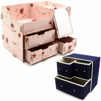 Multifunction Wooden Drawer Style Makeup Cosmetics Jewelry StorageBox Case Rack Organizer (Light Pink) with Foldable Woven ClothingStorage Box (Dotted Dark Blue)