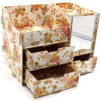Multifunction Wooden Drawer Style Makeup Cosmetics Jewelry StorageBox Case Rack Organizer Yellow (Floral Design)