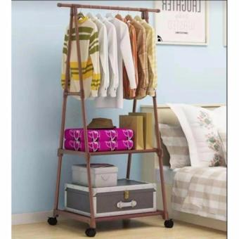 Multifunctional Garment Laundry Rack with 2-tier Shoe ClothesStorage Shelves