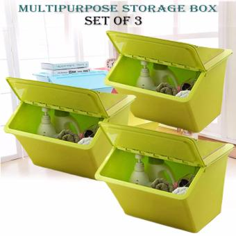 Multipurpose Durable Storage Box (Yellow Green) SET OF 3