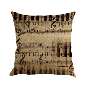 Musical Note Painting Linen Cushion Cover Throw Pillow Case Sofa Home Decor C - intl