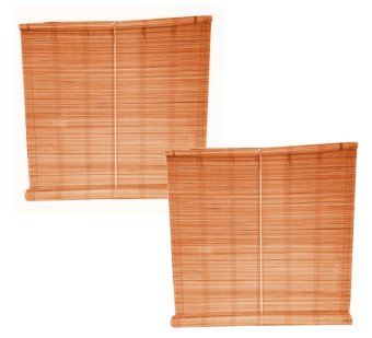 Native Bamboo Window Blinds Set of 2 (Brown)