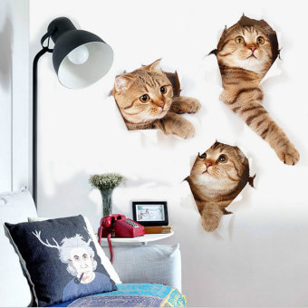 Naughty 3D bedroom childrens room cat Decorative Sticker wall stickers Home Décor Wall Stickers Decals