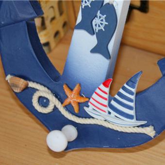 Nautical Anchor Wall Hanging Hook Ship Starfish Decor Coat Hat Door Rack - 4