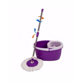 New 360? Microfiber Magic Rotating Spin Head Easy Cleaning Floor Mop Bucket Set (Purple)