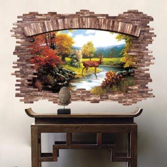 New 3D Golden Deer Bedroom Living Room Removable Wall Stickers -intl - 2