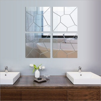 New 3D Mirror Wall Mirror Wall Geometry Trade Acrylic Decoration Room Mid - intl