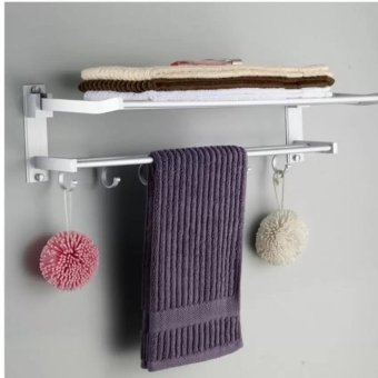 New aluminium bath towel rack double folded towel rack spaceactivities with rod bathroom toilet shelf widgets - intl