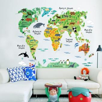 New Animals World Map Bedroom Living Room Backdrop Stickers - intl