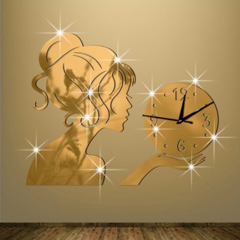 New Beautiful Girl with Crystal Ball Mirror Wall Clock Home Decor wc1196g (Gold)