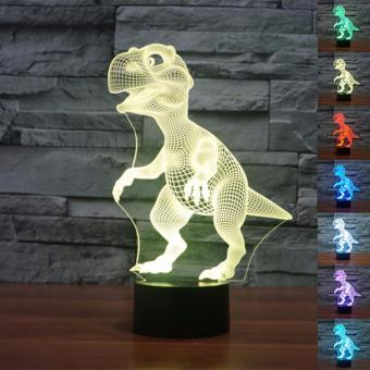 New Dinosaur Head 3D Night Light Building Lamp for Bedroom LivingRoom Interesting Animal Pattern 3D Table LED Novelty Lighting -intl