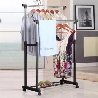 New Double Rolling Rail Adjustable Portable Clothes Garment RackHanger