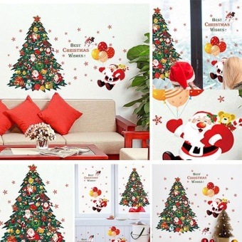 New Fashion Christmas Tree Santa Claus Bedroom Living RoomRemovable Decorative Wall Stickers - intl - 4