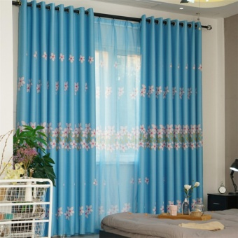 New Floral Shade Curtain Finished Door Window Curtain Drape Panel(Blue) - intl