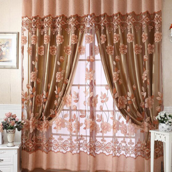 New Floral Tulle Voile Door Window Curtain (Coffee)