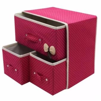 New Folding 3 Drawer Fabric Storage Box Organizer - 2