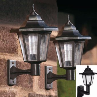 New LED SOLAR POWERED WALL LANTERNS WALL LIGHT LAMP OUTDOOR GARDENFENCE DOOR - intl