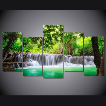 New River and Tree beautiful Scenery Painting on Canvas 5 PanelHome room Wall decor No frame - intl Price Philippines
