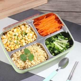 New Rushed Fashion Stainless Steel 3 Color Lunch Box Food Storage Container Lunchbox Bento For Microwave Dinnerware Sets - intl