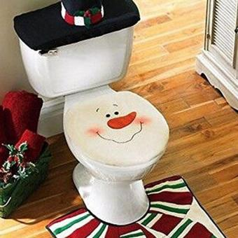 New Snowman Santa Toilet Seat Cover And Rug Set For Bathroom Christmas Decorations Of 4