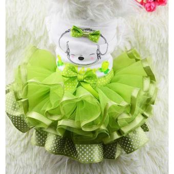 New Spring and Summer lovely princess dog green dress(L) - intl