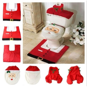 New Style TA Home Christmas Santa Claus Toilet Foot Pad Seat CoverRadiator Cap Bathroom Set TE - intl