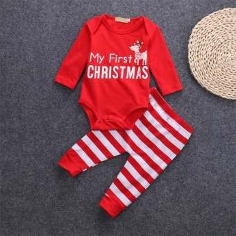 Newborn-Infant-Kid-Baby-Boy-Girl-Christmas-Romper-Jumpsuit-Clothes-Outfits+Pants(0-3Months)- intl