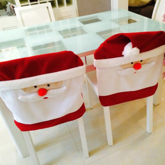 Newest 4pcs 65cmX50cm Christmas Kitchen Chair Covers Santa Claus Christmas Decoration Dinner Chair Decor - intl